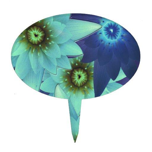 bouquet 2-tone blue flowers cake picks