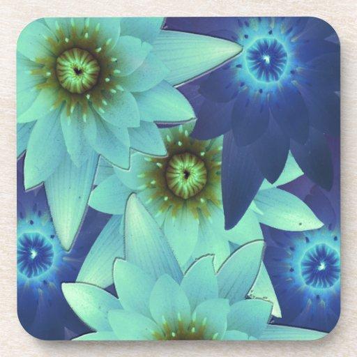 bouquet 2-tone blue flowers drink coaster
