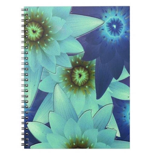 bouquet 2-tone blue flowers notebook