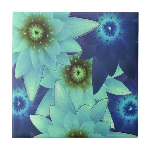 bouquet 2-tone blue flowers ceramic tiles