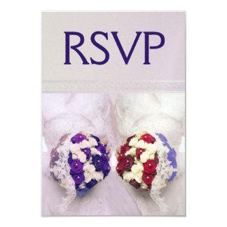 Bouquet Brides RSVP for Lesbian Weddings 9 Cm X 13 Cm Invitation Card