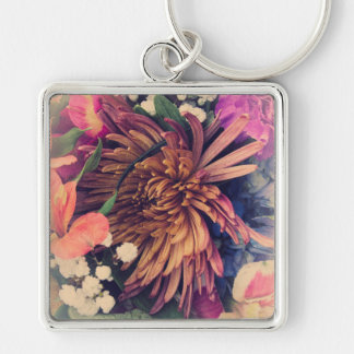 Bouquet (Cool Colors) Silver-Colored Square Key Ring