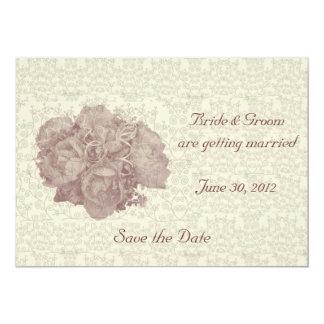 "Bouquet Cream Rose Wedding Invitation 5"" X 7"" Invitation Card"
