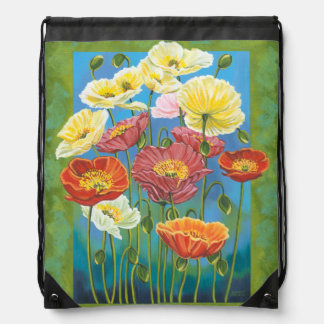 Bouquet in Border I Drawstring Bag