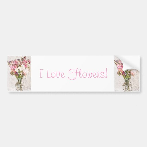 Bouquet in clear vase collection bumper sticker