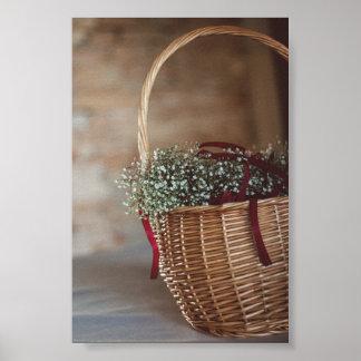 Bouquet in wicker basket poster