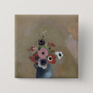 Bouquet of anemones 15 cm square badge