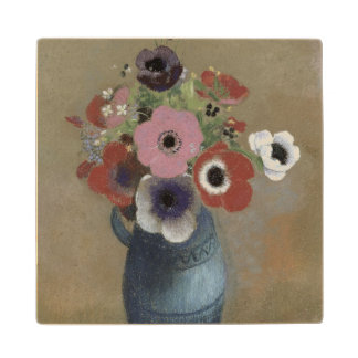 Bouquet of anemones maple wood coaster
