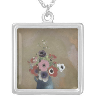 Bouquet of anemones silver plated necklace