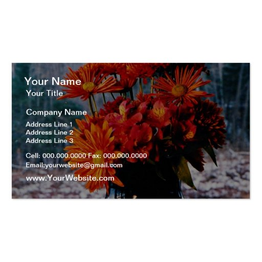 Bouquet of chrysanthemums  flowers business card templates