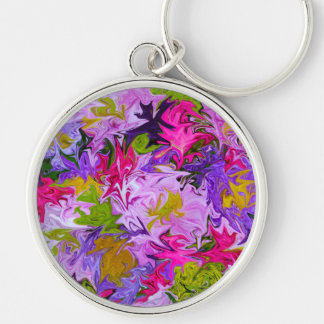 Bouquet of Colors Floral Abstract Art Design Key Ring