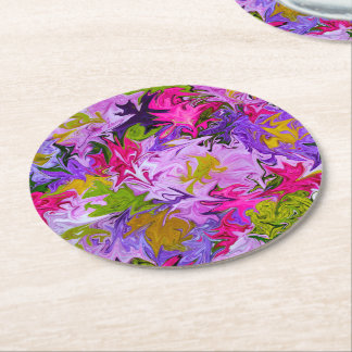 Bouquet of Colors Floral Abstract Art Design Round Paper Coaster