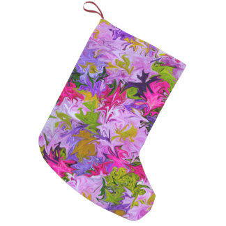 Bouquet of Colors Floral Abstract Art Design Small Christmas Stocking