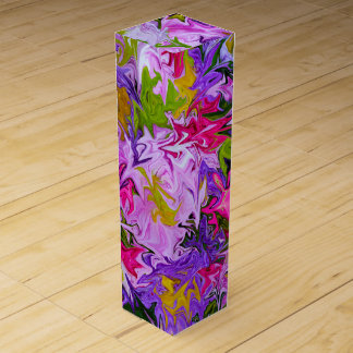 Bouquet of Colors Floral Abstract Art Design Wine Gift Boxes