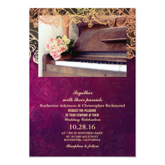 bouquet of flowers,bride and piano/purple vintage 13 cm x 18 cm invitation card
