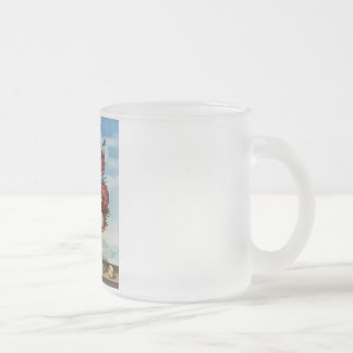 Bouquet of Flowers on a Ledge Frosted Glass Mug