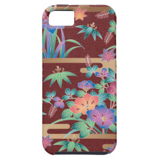 Bouquet of flowers on a maroon background iPhone 5 case