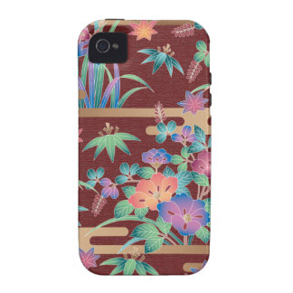 Bouquet of flowers on a maroon background Case-Mate iPhone 4 cases