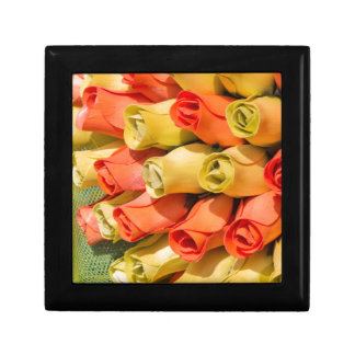bouquet of handmade roses small square gift box