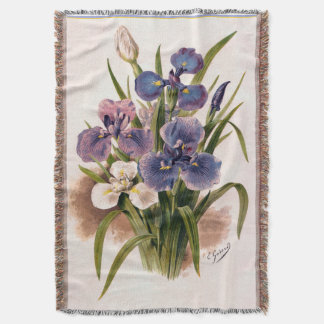 Bouquet of Japanese Irises Antique Engraving Throw Blanket