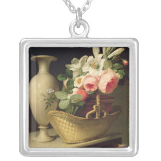 Bouquet of Lilies and Roses in a Basket, 1814 Silver Plated Necklace