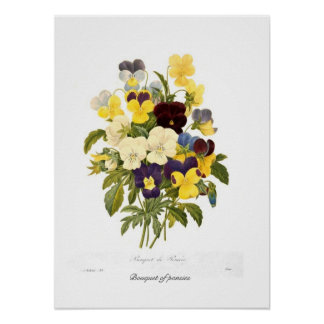 Bouquet of pansies poster