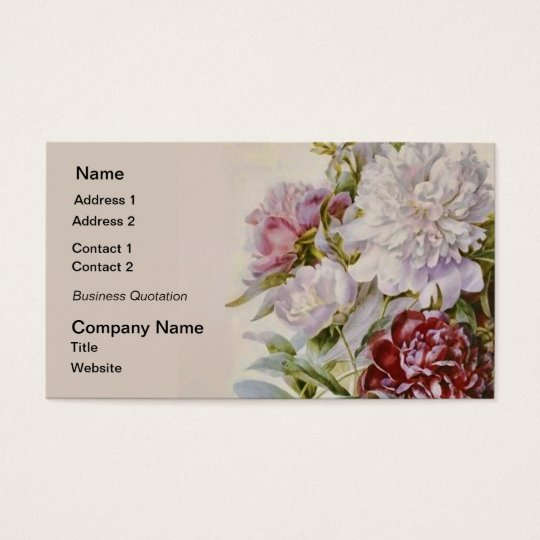 Bouquet of Peonies by Pierre Redoute Business Card