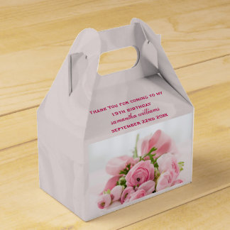 Bouquet Of Pink Roses 19th Birthday Party Favour Box
