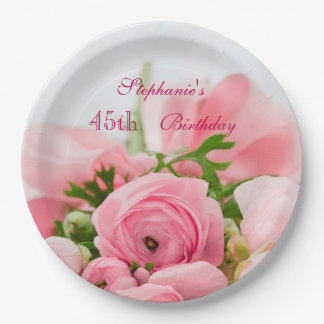 Bouquet Of Pink Roses 45th Birthday 9 Inch Paper Plate