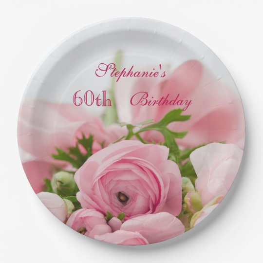 Bouquet Of Pink Roses 60th Birthday 9 Inch
