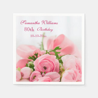 Bouquet Of Pink Roses 80th Birthday Disposable Napkin