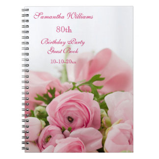 Bouquet Of Pink Roses 80th Birthday Notebooks