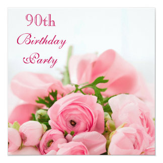 Bouquet Of Pink Roses 90th Birthday Card