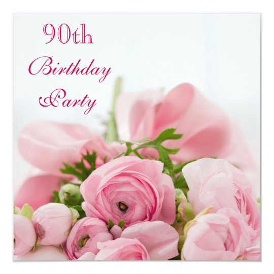 Bouquet Of Pink Roses 90th Birthday Invitation