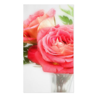 Bouquet Of Pink Roses in a Vase Pack Of Standard Business Cards
