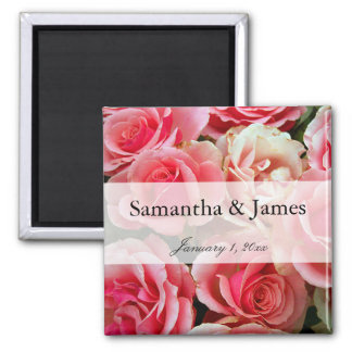 Bouquet of Pink Roses Personal Wedding Magnet