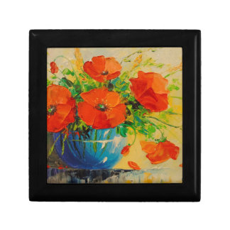 Bouquet of poppies in vase small square gift box