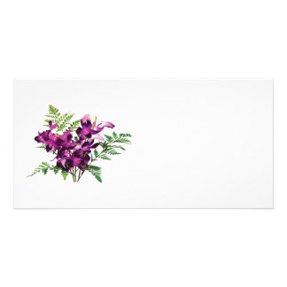 Bouquet of Purple Orchids With Ferns Photo Greeting Card