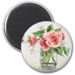 Bouquet of roses 6 cm round magnet