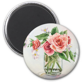 Bouquet of roses 6 cm round magnet