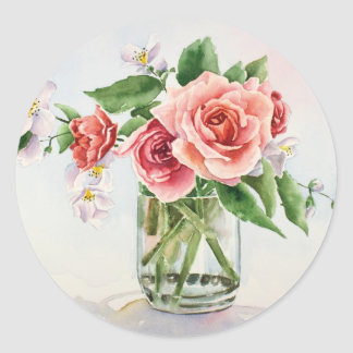 Bouquet of roses classic round sticker