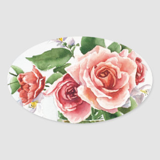 Bouquet of roses oval sticker