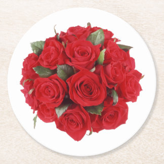 Bouquet of Roses Round Paper Coaster