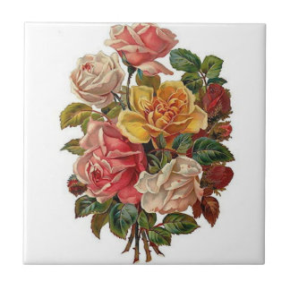 Bouquet of Roses Small Square Tile