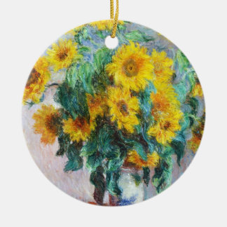 Bouquet of Sunflowers, 1880 Claude Monet Double-Sided Ceramic Round Christmas Ornament