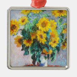 Bouquet of Sunflowers, 1880 Claude Monet Silver-Colored Square Decoration