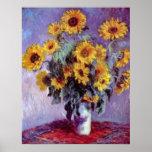 Bouquet of Sunflowers by Claude Monet, Vintage Art Poster