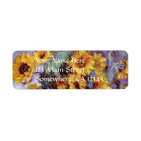 Bouquet of Sunflowers by Claude Monet, Vintage Art Return Address Label