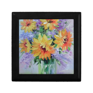 Bouquet of sunflowers small square gift box