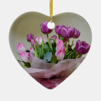 Bouquet of Tulips Ceramic Heart Decoration